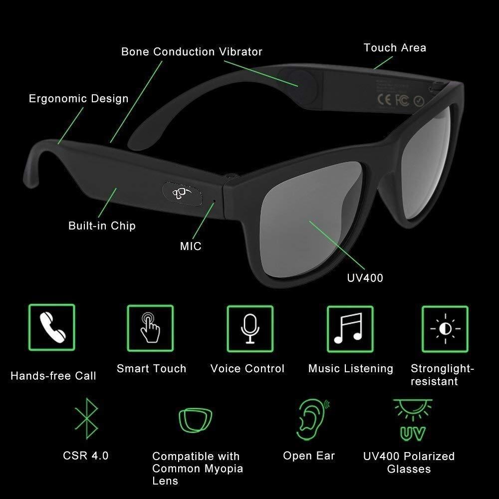 DSAEFG Bone Conduction Intelligent Awake Glasses Polarized Sunglasses, Stereo Music Wireless Bluetooth Glasses by DSAEFG