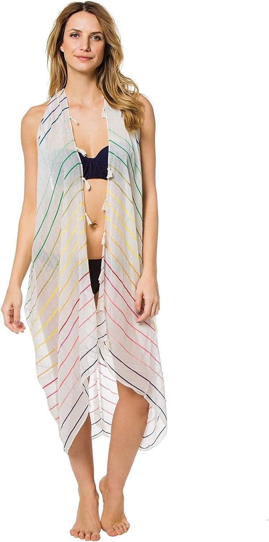 SUBTLE LUXURY Womens Wovens Rainbow Stripe Vest Kimono Swim Cover Up