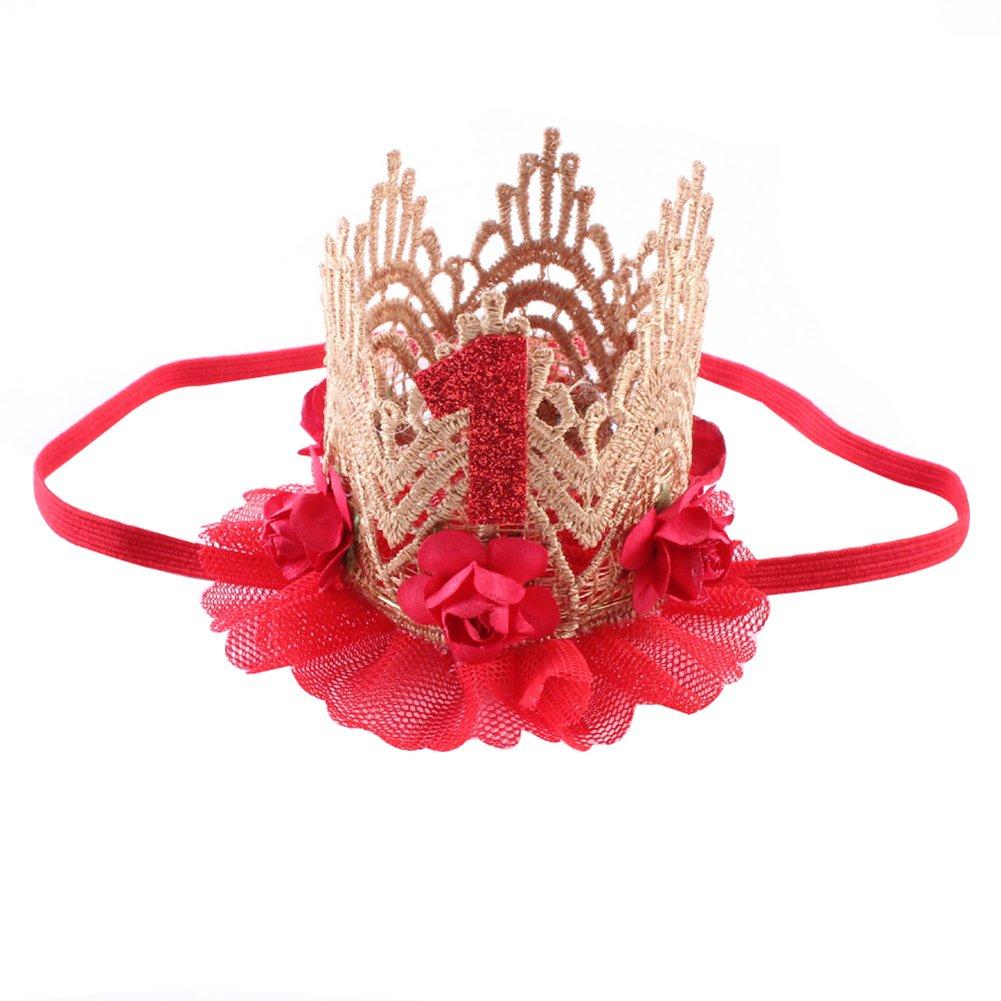 Baby M/ädchen Jungen Geburtstagskrone Haarband Party Hut Blume Spitze Babyschmuck f/ür 1 Jahre Geburtstag Prinzessin Beige, Onesize