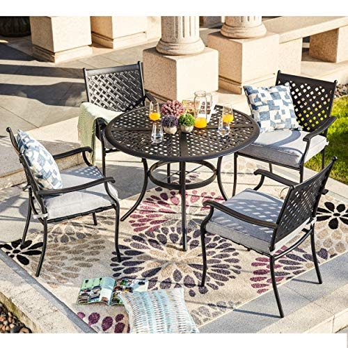 LOKATSE HOME 5 Piece Outdoor Patio Metal Dining 4 Iron Arm Chairs with Seat Cushions and 1 Table with Umbrella Hole, Grey-Set