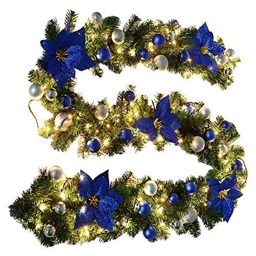 BullStar 9 Feet Christmas Decorations Christmas Garland with Lights Artificial Wreath with Berries and Pinecones Xmas Decorations for Stairs Wall Door (1 Pack, C-Blue)