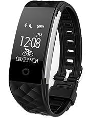 Redlemon Smartwatch Tipo Pulsera Fitband con Podómetro Contador de Calorías Notificaciones de Mensajería y Llamadas Monitor Ritmo Cardiaco A Prueba de Agua y Polvo Compatible con Android y iOS. Negro