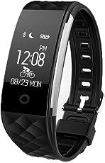 REDLEMON Smartwatch tipo Pulsera Fitband, con Podómetro, Contador de Calorías y Kilómetros, Notificaciones de Mensajería y Llamadas, Monitor de Ritmo Cardiaco, A Prueba de Agua y Polvo, Compatible con Android y iOS. Reloj Inteligente Deportivo tipo Fitbit - NEGRO