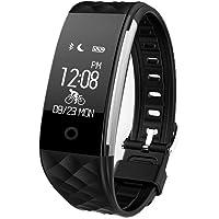 REDLEMON Smartwatch tipo Pulsera Fitband, con Podómetro, Contador de Calorías y Kilómetros, Notificaciones de Mensajería y Llamadas, Monitor de Ritmo Cardiaco, A Prueba de Agua y Polvo, Compatible con Android y iOS. Reloj Inteligente Deportivo - NEGRO