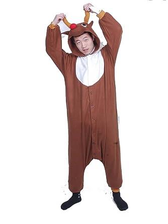 88f1ac1f1f0e Amazon.com  UBeauty Unisex Kigurumi Christmas Deer Reindeer Adult Cosplay  Onesies Pajamas  Clothing
