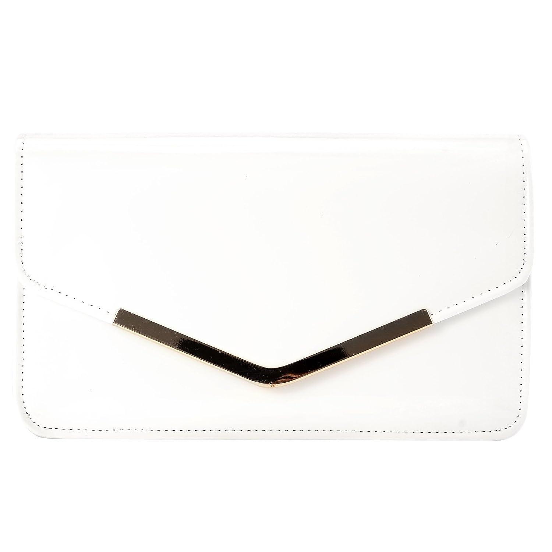 Anladia Rectangular Shaped Designer Clutch Structured Casual Bag Metal-Trim Magnetic Flap Women Handbag