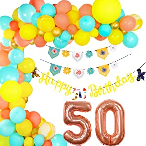 50th birthday decorations balloons kit - (169pack) 165 count Latex Balloons - 50 Happy Birthday Banner, Birthday Party Bunting Banner - 40 Inch 50 Jumbo Digital Number Balloons, 50th birthday party favors for women. set of 169