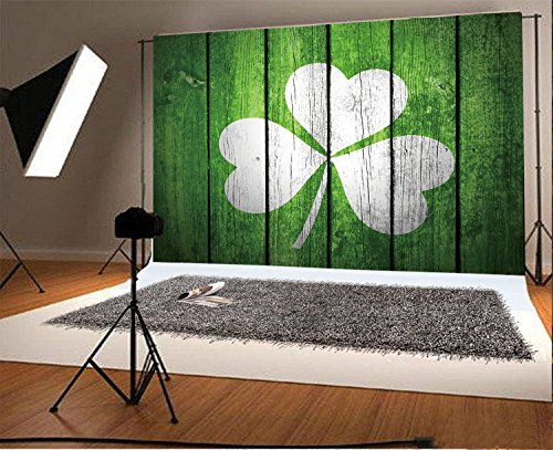 Stripe Clover (Laeacco 7x5ft Vinyl Photography Backdrop Lucky Irish Shamrock Clover Printed on Green Stripes Wood Board Happy St. Patrick's Day Photo Background Portraits Green Planks with Shamrock Decoration)