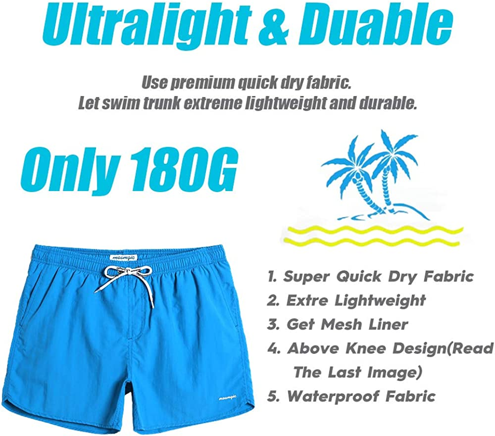 MaaMgic Men Swimming Shorts Classic Mesh Lined Surf Trunks Quick-Drying Beach Shorts Adjustable Drawstring Swimwear with Pockets for Bathing Drawers Holiday Watershort
