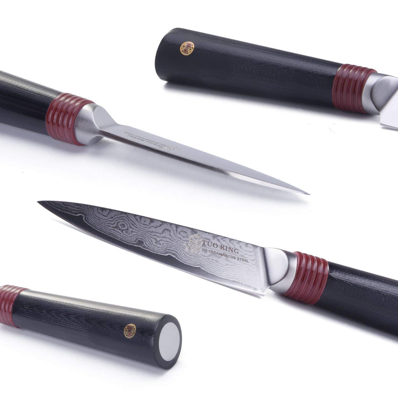 TUO RING Cuchillo Mondador - Cuchillo de Cocina VG10 Japonés 67 Capas Acero de Damasco & Acero Inoxidable de Alto Carbón & Mango Ergonómico, Hoja ...