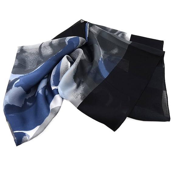 ef77507f008 dames satin foulard bleu noir anthracite gris 90 x 90 - tissu nicki écharpe