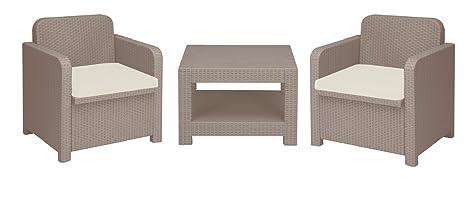 Set Rattan Jardín 2 sillones y mesa con almohadas lirio ...