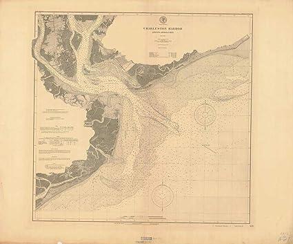 Amazoncom Vintography Reprinted 8 X 12 Nautical Map Of Charleston - Us-coast-and-geodetic-survey-maps