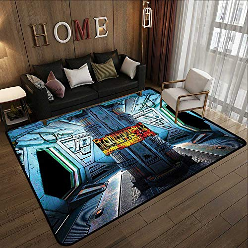 Truck mats,Outer Space Decor,Space Ship Station Base Control Room with Technology Elements Features Image,Blue Black Orange 78.7