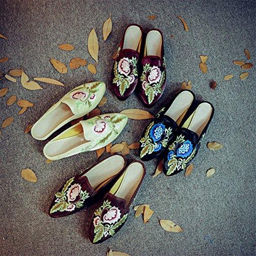 Ricamato Morbide Donna Da Velluto Festa Scarpe Suole darkred Muli Piatti Pantofola RYw4q1txC