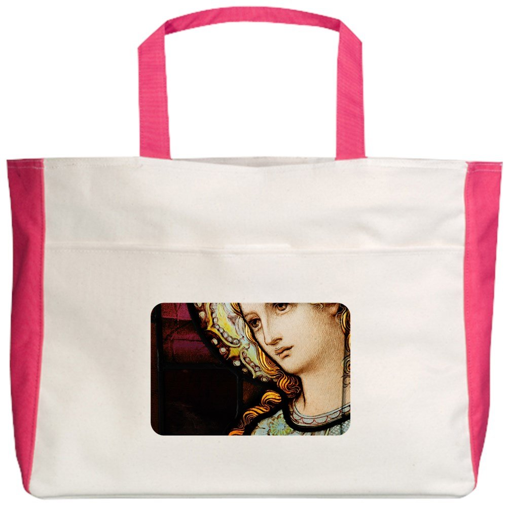 Royal Lion Beach Tote (2-Sided) Mother Mary Stained Glass - Fuchsia