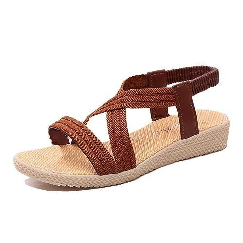 47051560cdb3c Mujer Sandalias Cuña Planas Verano Playa Tobillo Correa Slingback Thong  Negro Azul Marrón Rojo Beige 35-41  Amazon.es  Zapatos y complementos