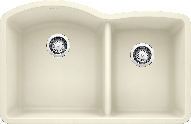 Blanco 440181 Diamond 1-3/4 Bowl Kitchen Sink, Biscuit Finish