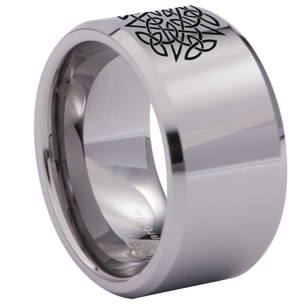 Friends of Irony Silver Tungsten Carbide Celtic Pentacle Ring 12mm Wedding Band Anniversary Ring for Men and Women Size 7.5