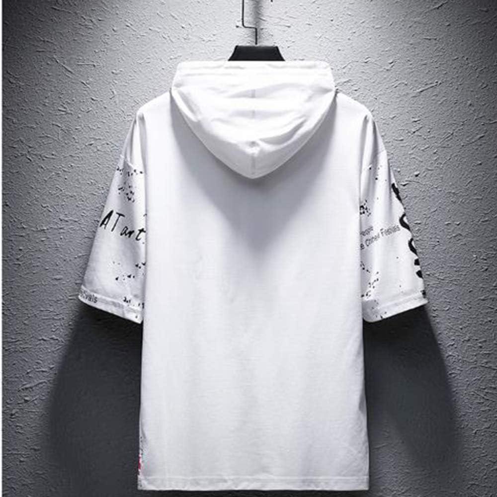 Herren Sweatshirt Hoodie Männer Kapuzenpullover Slim Fit Pullover Lässige Drapierungsmuster T-Shirt Kurzarm Top Bluse Whiteb