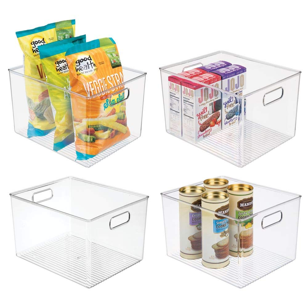mDesign Plastic Storage Organizer Container Bins Holders with Handles - for Kitchen, Pantry, Cabinet, Fridge/Freezer - Large for Organizing Snacks, Produce, Vegetables, Pasta Food - 4 Pack - Clear by mDesign