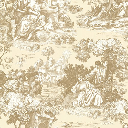 Beacon House 2668-21514 Isabella Toile Wallpaper, Gold (Vintage Toile Wallpaper)