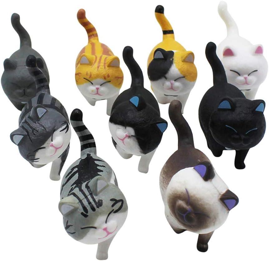 Bolley Joss 9pcs Plastic Cartoon Cat Figures Miniature Cats Set Kitty Cake Topper Fairy Garden Decoration