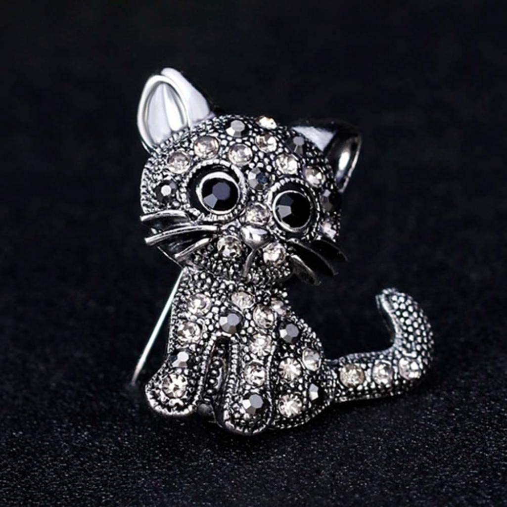 Golden GLOA Brooch Pin,Unisex Rhinestone Inlaid Cute Cats Animal Suit Hat Clip Jewelry Gift