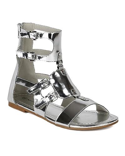3ebc6523c2 Nature Breeze New Women Metallic Leatherette Open Toe Strappy Buckles  Gladiator Flat Sandal AI41 - Silver