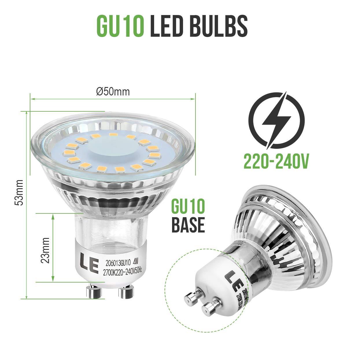 LE Bombillas LED, GU10 4W Equivalente 50W Halógena, Blanco cálido 2700K, Pack de 6: Amazon.es: Iluminación