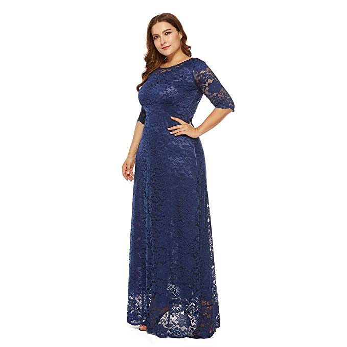 Amazon.com: Swing Dress Women 3/4 Sleeves Solid Vintage Floral Lace Cocktail Formal Maxi Dress Oversized Toponly: Arts, Crafts & Sewing