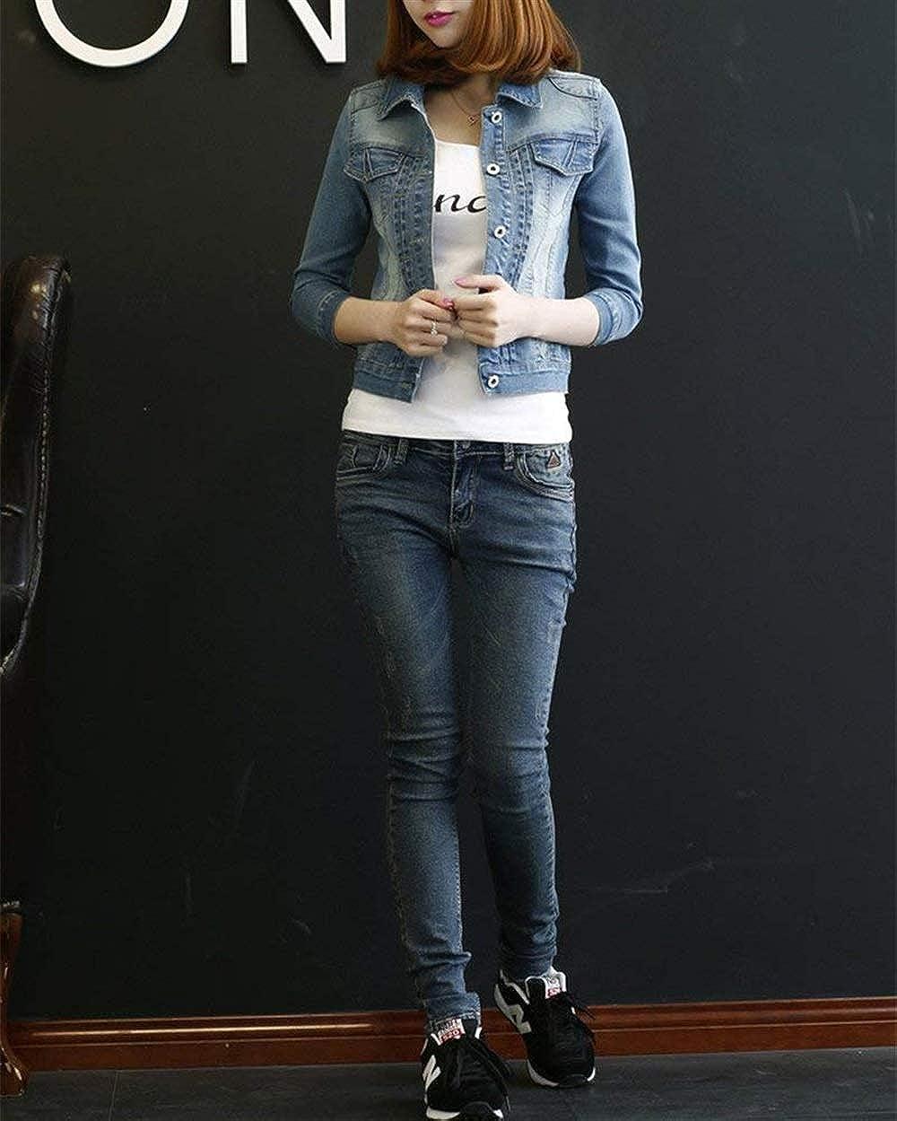 Jeans Giacca Donna Taglie Forti Corto Primaverile Autunno Casual Manica 3//4 Bavero Cappotto Jeans Giacca Eleganti Fashion Tendenza Grazioso Vintage Cappotto Jeans Ragazze