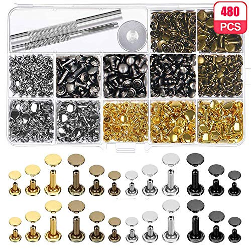 Leather Rivets Kit, 480pcs Leather Rivets Double Cap Tubular Copper Metal Studs with 3 Pieces Fixing Tool for Jean Jacket Punk Clothes Shoes Bags Belts DIY Craft Repairs Decoration (3 Sizes 4 Colors)