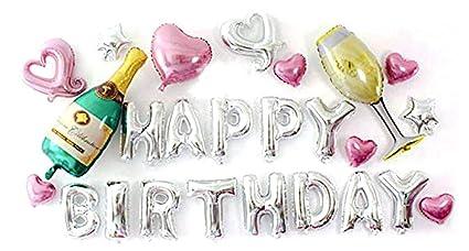 PuTwo Happy Birthday Balloons 25 Pcs Letter Champagne Bottle Wine Glass