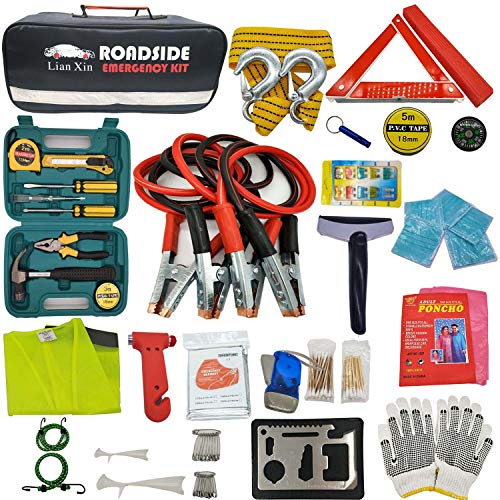 Roadside Emergency Kits -  Roadside Assistance Emergency Kit - Multipurpose Emergency Pack Car Premium Road Kit Essentials Jumper Cables Set (8 Foot) Automotive Roadside Assistance 142 Pieces Winter Car Kit