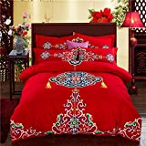DHWM-Wedding wear wool 4 piece set, the red wedding bedding, 1.8m cotton pure cotton bed linen a ,1.8m