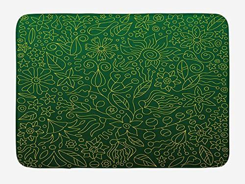 Flourish Flower Essence - Hunter Green Bath Mat, Shabby Chic Spring Florets Flower Petals Blossom Essence Flourish Natural, Plush Bathroom Decor Mat with Non Slip Backing, 23.6 W X 15.7 W Inches, Hunter Green