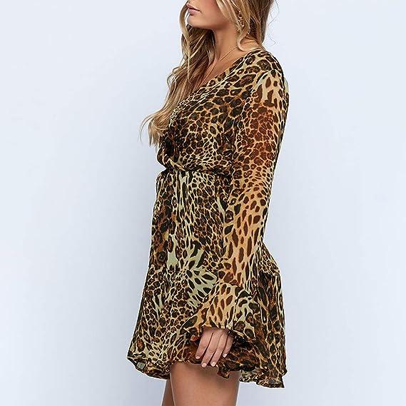 Vestido de Mujer, Dragon868 Mujer Profunda con Cuello en V de Manga Larga de Gasa de Leopardo de impresión Vestido Suelto: Amazon.es: Juguetes y juegos