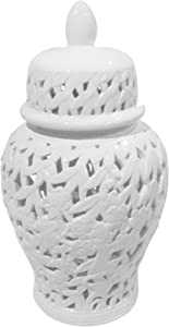 Sagebrook Home, White Pierced Ceramic Temple JAR, 10.5x10.5x18.5