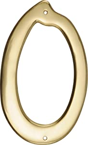 HIllman 847042 4-Inch Nail-On Traditional Solid Brass House Number 0