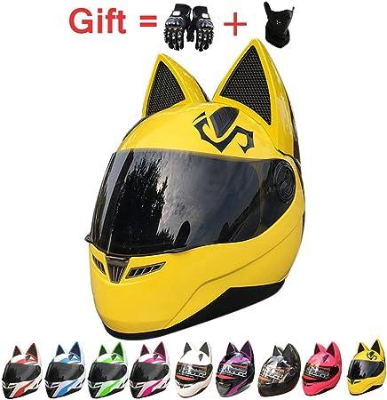 Casco del Motociclo con Lorecchio del Gatto Adulti Creativo Horn off Road del Casco di Motocross per Uomini E Donne ECE//DOT Approvato Helmet,6,M53~55cm Gatto Orecchie del Casco