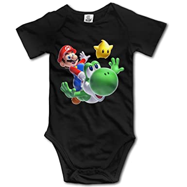 75fe6904590a Amazon.com  Super Mario Bros Cute Short Sleeves Variety Baby Onesies  Bodysuit For Girls  Clothing