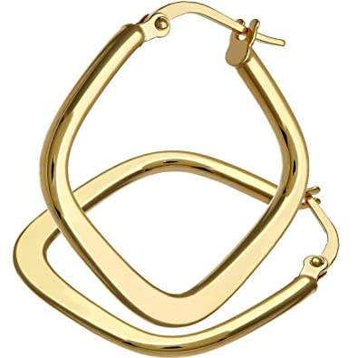 Citerna 9 ct Yellow Gold Tapered Square Hoop Earrings Amazon