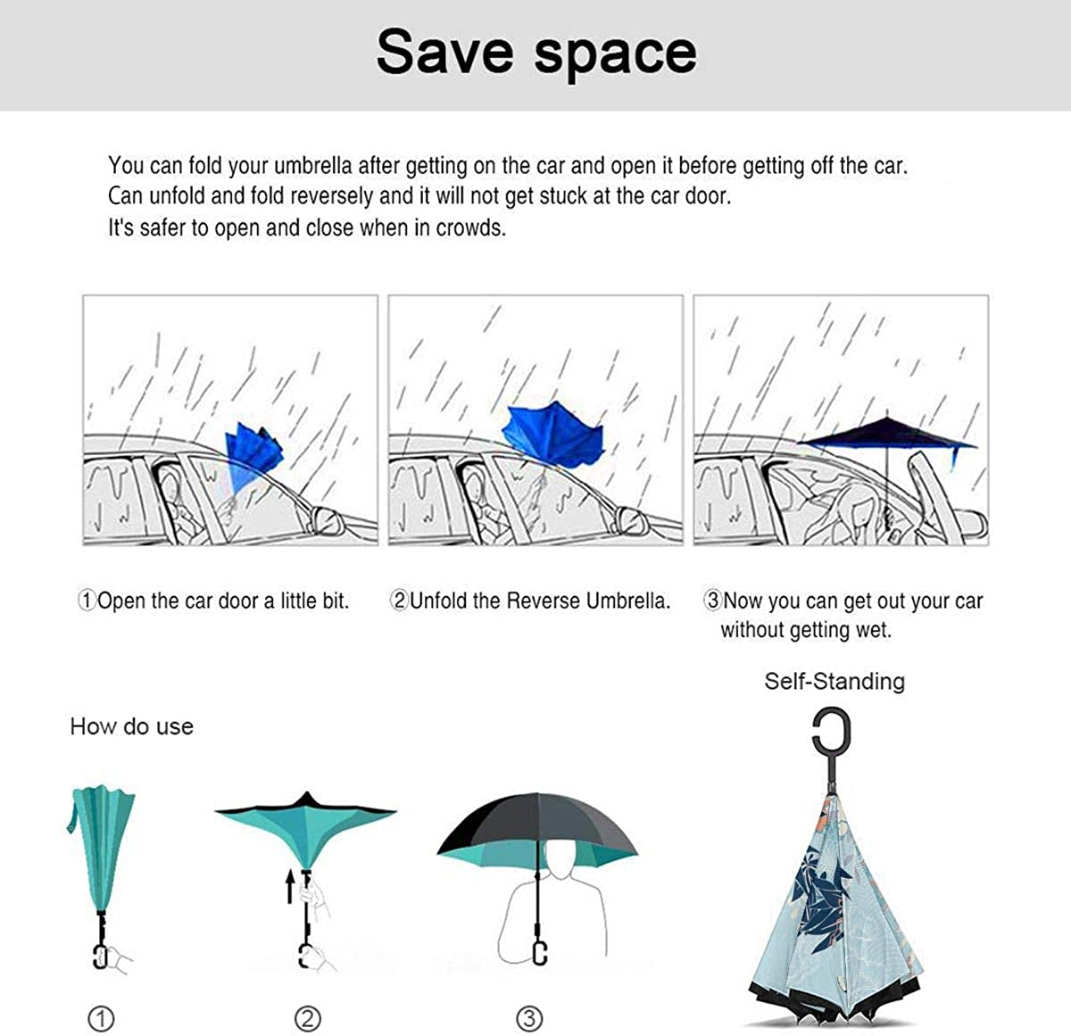 Reverse Umbrella Double Layer Inverted Umbrellas For Car Rain Outdoor With C-Shaped Handle Kimono Motif With Crane And Flowers Customized