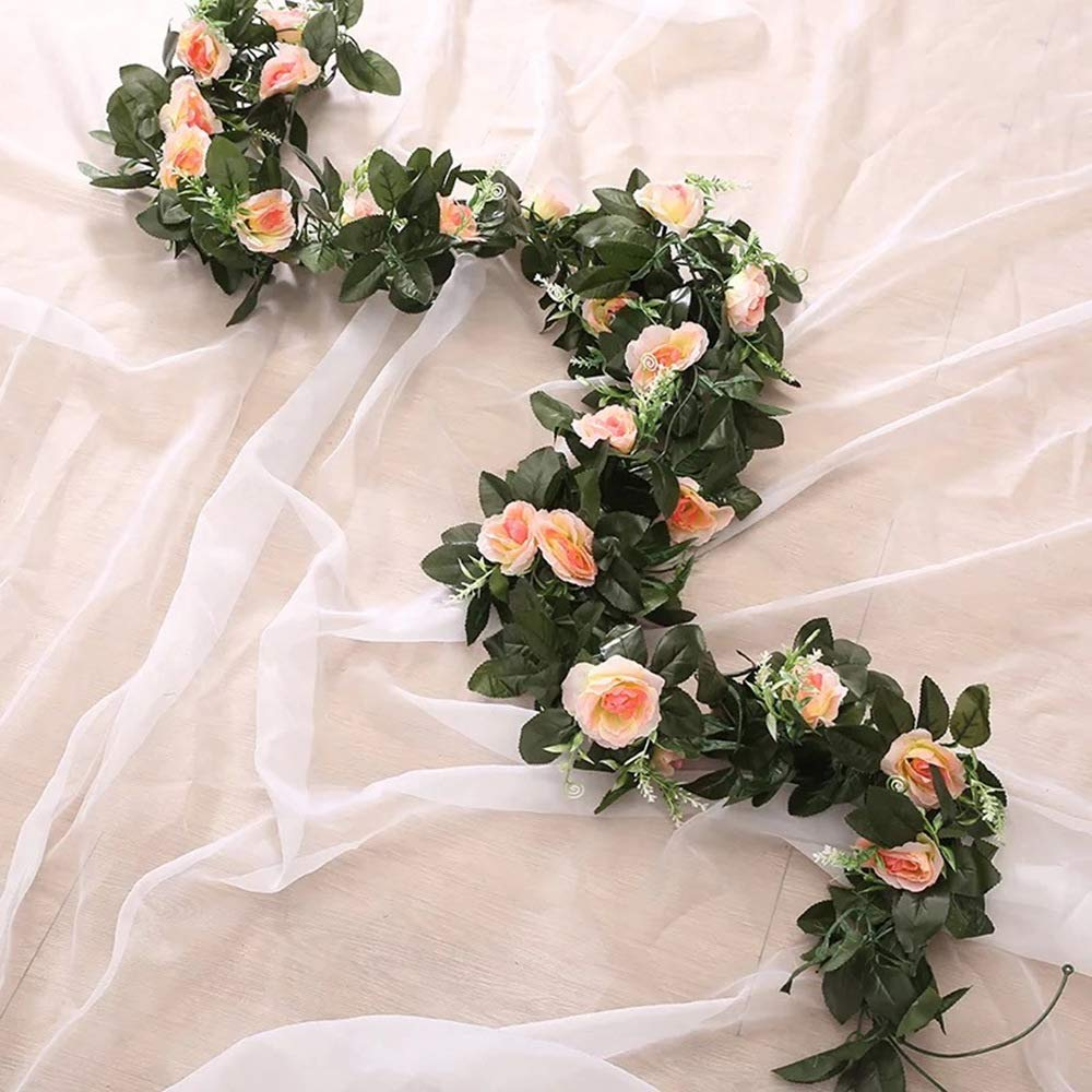 Champagne U-Hotmi 2 Packs Artificial Flowers Hanging Fake Flower Garland for Wedding Garden Party Wall Decoration