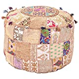Indian Living Room Pouf, Foot Stool, Round Ottoman Cover Pouf,Traditional Handmade Decorative Patchwork Ottoman Cover Beige Colour,Indian Home Decor Cotton Cushion Ottoman Cover 14x22x22''By MyCrafts