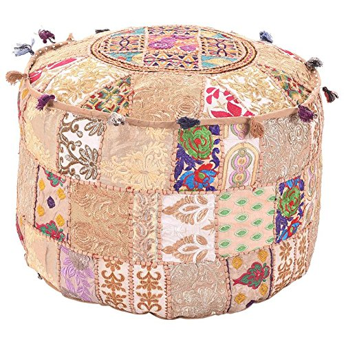 Indian Living Room Pouf, Foot Stool, Round Ottoman Cover Pouf,Traditional Handmade Decorative Patchwork Ottoman Cover Beige Colour,Indian Home Decor Cotton Cushion Ottoman Cover 14x22x22''By MyCrafts MUB00006