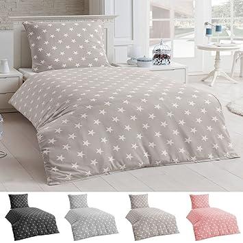 Dreamhome24 Bettwäsche Microfaser Bettbezug 135x200 Sterne