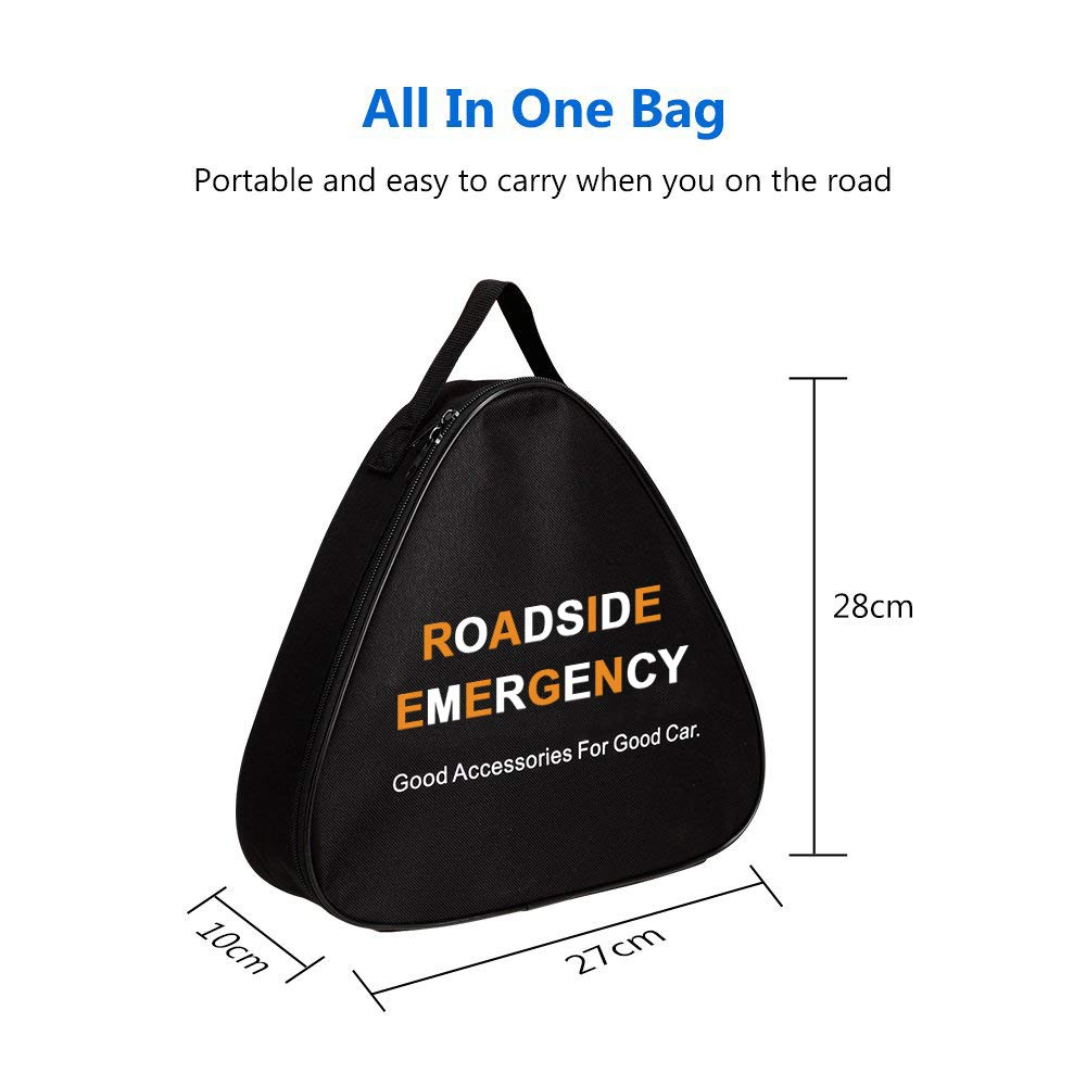 Camper Tools Truck Ideal Winter Accessory for Your car Reflective Safety Triangle and More Triangle Bag Sailnovo Roadside Assistance Auto Emergency Kit Contains Jumper Cables