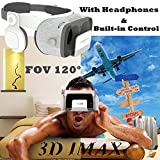 3D Virtual Reality Headset, Tsanglight VR Headset /w Controller & Headphones[720°HIFI], FOV 120 VR Glasses Viewer for IOS iPhone X 8 6S Plus, Android Samsung S8 S7 S6 Edge & More 4.7-6.2'' Cellphone